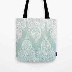 Lace & Shadows - soft sage grey & white Moroccan doodle Tote Bag