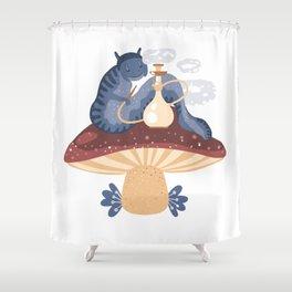 Blue caterpillar Shower Curtain