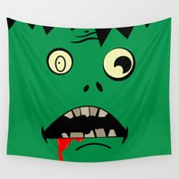 zombie Wall Tapestries featuring Zombie  by WTF-Arts
