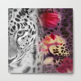 Black & White Leopard & Floral Collage Metal Print