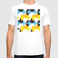 Blue, Yellow, Orange & Black Geometric Pattern White MEDIUM Mens Fitted Tee