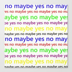 Indecisive - Funny, yes, no, maybe, coloured text design, red, yellow, blue, purple, green, black Canvas Print