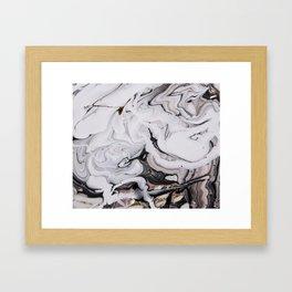 Elegant dark swirls of marble Framed Art Print