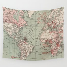 Vintage Map of The World (1918) Wall Tapestry