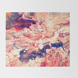 Sea and Blood, Pour Painting Throw Blanket