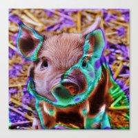 piglet Canvas Prints featuring Funky Piglet by MehrFarbeimLeben