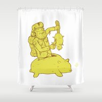 hunter Shower Curtains featuring hunter by Nate Galbraith