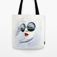 horses Tote Bags featuring Wild Horses by anna hammer