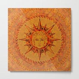 Apollo Sun God Yellow and Red Marble Metal Print