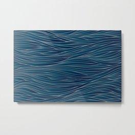 Blue and Gray Pattern Line Art Metal Print