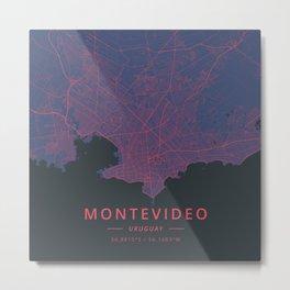Montevideo, Uruguay - Neon Metal Print