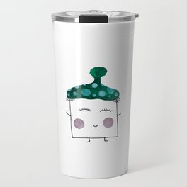 MyHappySquare with a green hat Travel Mug