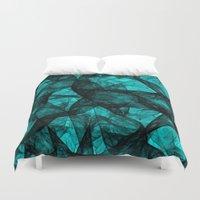 fibonacci Duvet Covers featuring Fractal Art Turquoise G52 by MedusArt