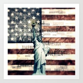 Vintage Patriotic American Liberty Art Print