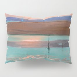 Blue Estuary maritime coastal beach sunset landscape painting by Julius Olsson Pillow Sham