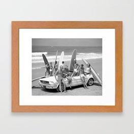 Vintage Beach Party Mustang Framed Art Print