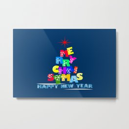 Merry Christmas Happy New Year Metal Print