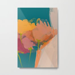 Colorful Messy Flowers On Teal Metal Print