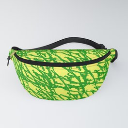 Braided geometric pattern of wire and green arrows on a yellow background. Fanny Pack