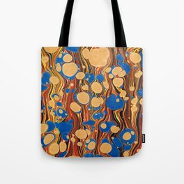 Vintage navy blue yellow orange abstract marble Tote Bag