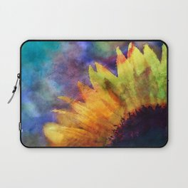 Sunflower Flower Floral on colorful watercolor texture Laptop Sleeve