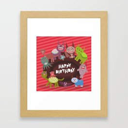 Happy birthday Funny monsters card Framed Art Print