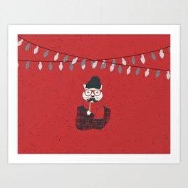 Festive Hipster Cat Art Print