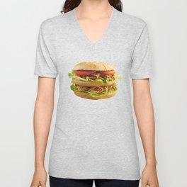 Burger with slow cooked pulled pork Unisex V-Neck