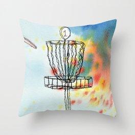 Disk Golf Basket Throw Pillow
