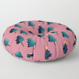 Pink Christmas Tree Forest  Floor Pillow