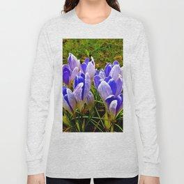 Blue Purple Crocuses Long Sleeve T-shirt