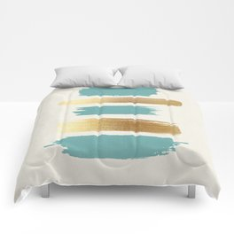 Brush Strokes (Teal/Gold) Comforters