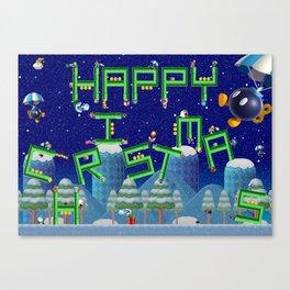 Happy Christmas Mario Pipes Canvas Print