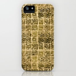Mayan and aztec glyphs gold on vintage texture iPhone Case