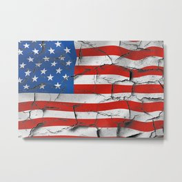 Rustic Painted American Flag Metal Print