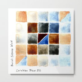 Color Chart - Burnt Sienna (W&N) and Cerulean Blue (DS) Metal Print