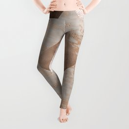 Copper and Blush Rose Gold Marble Gingham Leggings