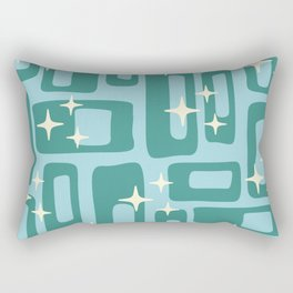 Retro Mid Century Modern Abstract Pattern 578 Teal and Blue Rectangular Pillow