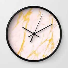 Modern blush pink faux gold abstract marble pattern Wall Clock