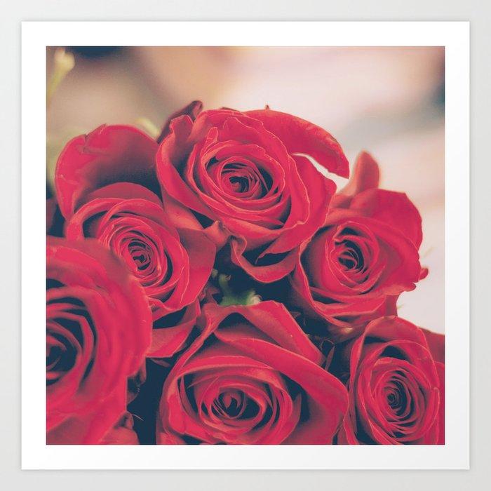 Bundle of Red Roses Art Print