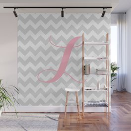"""Gray Chevron with Pink """"L"""" Monogram Wall Mural"""