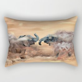 Elephants fighting Rectangular Pillow