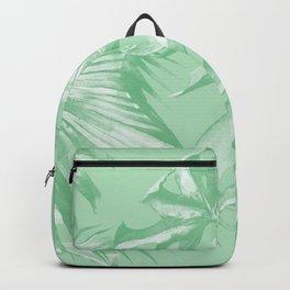 Tropics Mint Green Palm Leaves Backpack