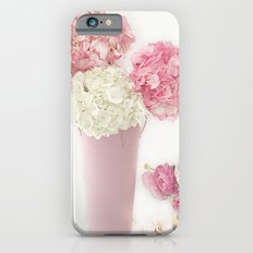 Shabby Chic Pink and White Hydrangeas Floral Print Home Decor iPhone 6s Slim Case