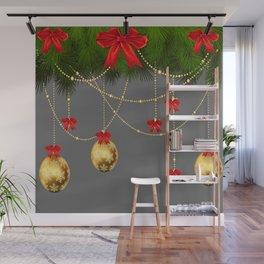 RED RIBBONS & GOLD  CHRISTMAS ORNAMENTS ART Wall Mural