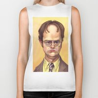 dwight schrute Biker Tanks featuring Mr. Dwight K Schrute by Ben Anderson