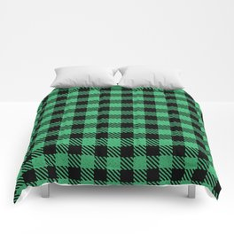 Medium Sea Green Bison Plaid Comforters