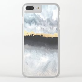 Timberline Gray Blue Gold Black Painting Clear iPhone Case