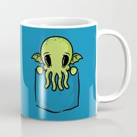 pocket Mugs featuring Pocket Cthulhu by Mike Handy Art