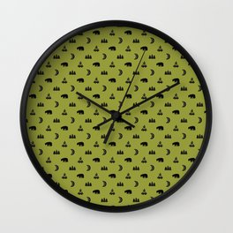 LET'S GO CAMPING, OLIVE Wall Clock
